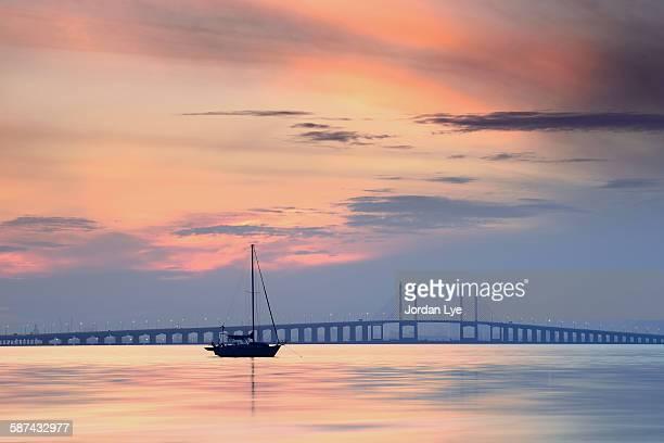Dawn in Penang bridge