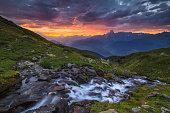 Dawn in the mountains with river