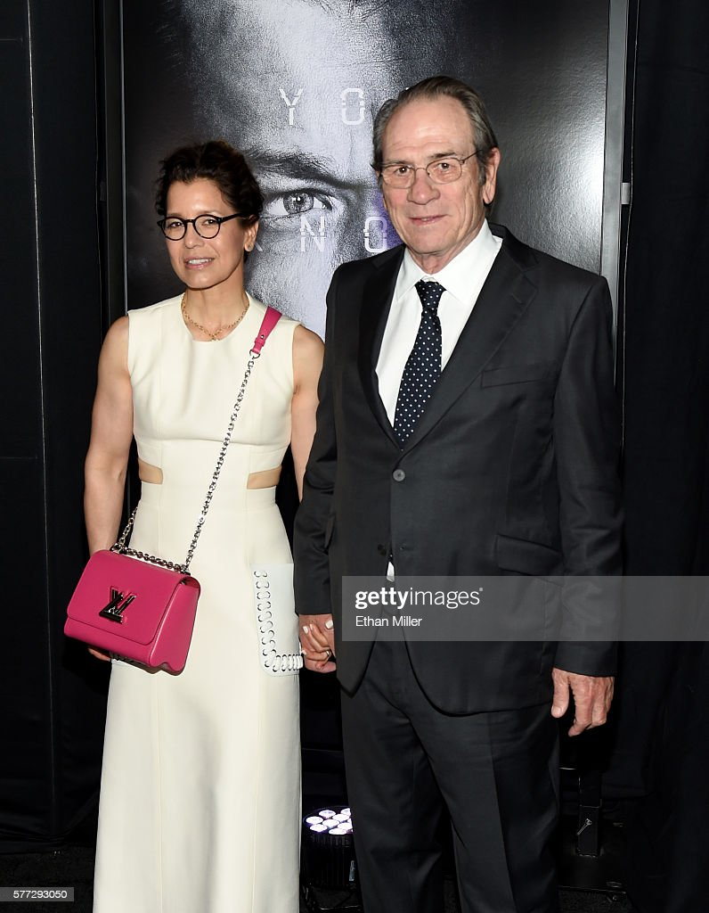 Dawn LaurelJones and actor Tommy Lee Jones attend the premiere of Universal Pictures' 'Jason Bourne' at The Colosseum at Caesars Palaceon July 18...