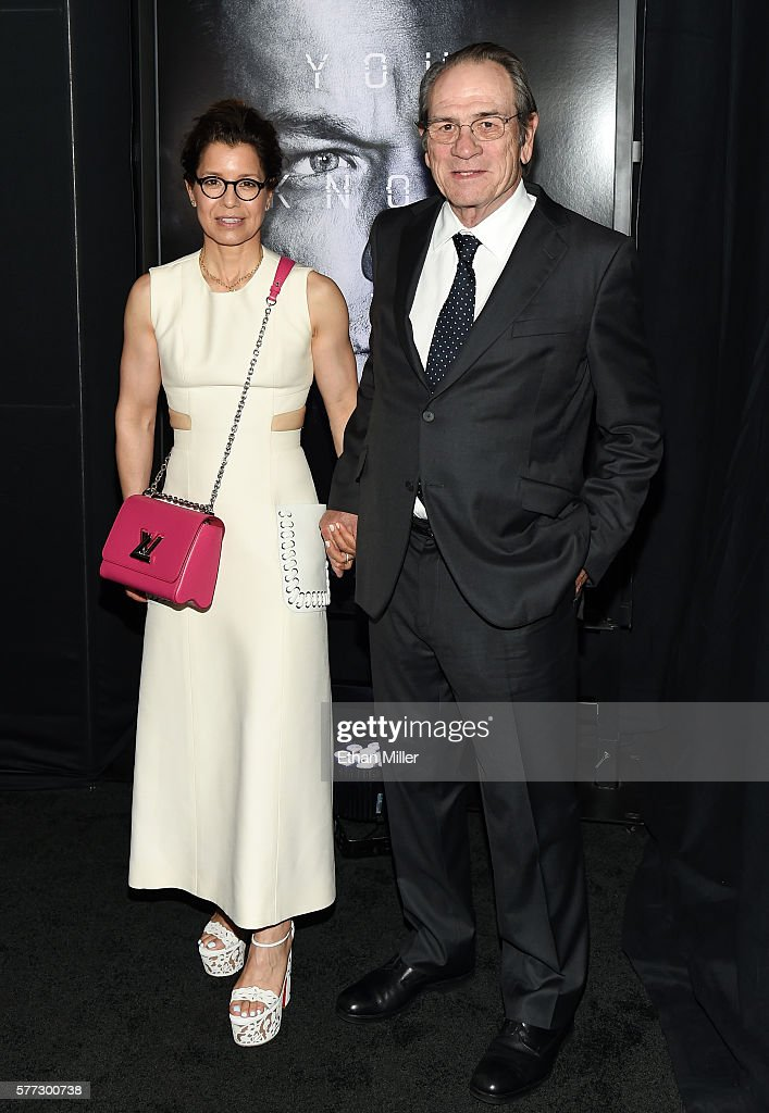 Dawn LaurelJones and actor Tommy Lee Jones attend the premiere of Universal Pictures' 'Jason Bourne' at The Colosseum at Caesars Palace on July 18...