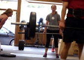Dawn Lillington does a deadlift during a CrossFit workout at Ross Valley CrossFit on March 14 2014 in San Anselmo California CrossFit a high...