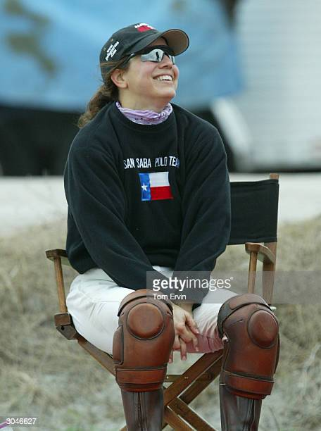 Dawn Maria Laurel sits down after playing polo at the International Polo Club Palm Beach February 6 2004 in Wellington Florida Laurel is the third...