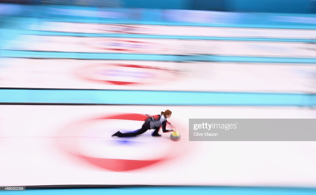 Dawn McEwen of Canada in action during curling training on day 2 of the Sochi 2014 Winter Olympics at the Ice Cube Curling Centre on February 9, 2014 in Sochi, Russia.