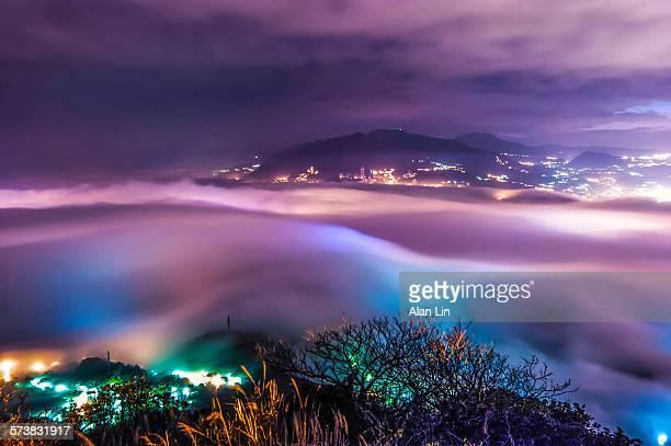 Dawn mist fog Tamsui River in Taipei