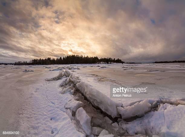 Dawn near the hummocks on the ice
