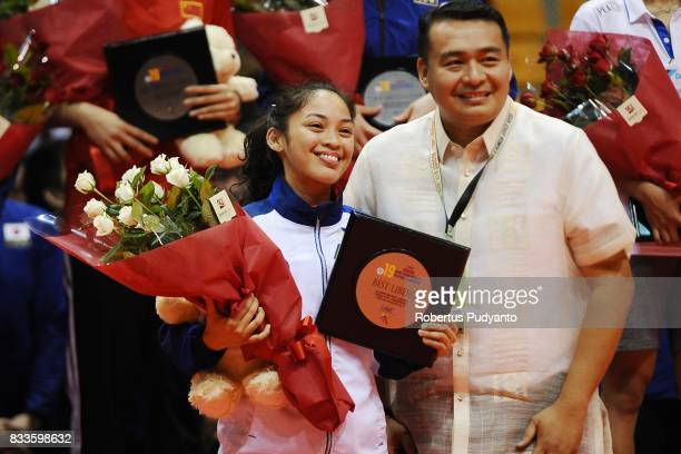 Dawn Nicole Macandili of Philippines takes Best Libero during the 19th Asian Senior Women's Volleyball Championship 2017 at Alonte Sports Arena Binan...