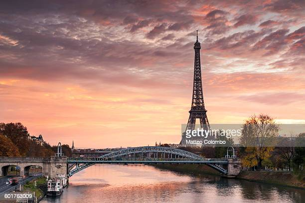 Dawn over Eiffel tower and Seine, Paris, France