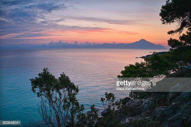 Dawn over Mt Athos, Halkidiki, Greece