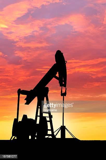 Dawn over petroleum pumps in the desert