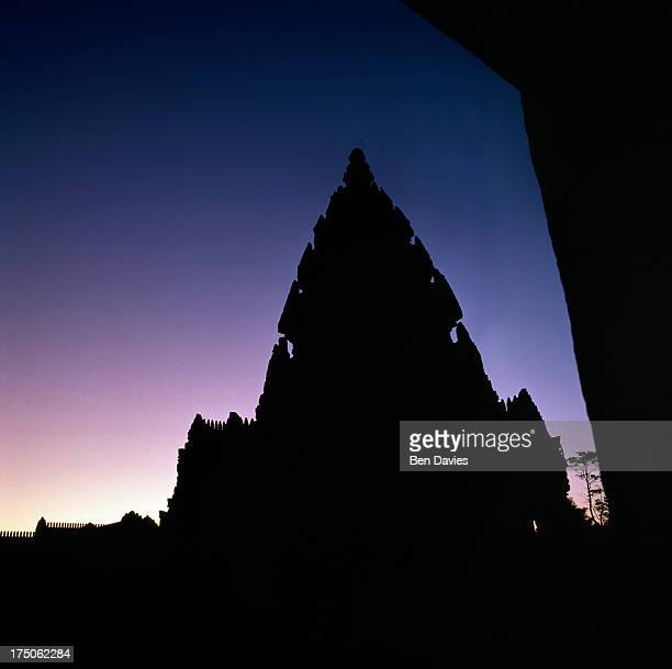 Dawn over the magnificent Khmer temple complex of Prasat Hin Khao Phanom Rung in Buriram Province Northeast Thailand which was built starting in the...