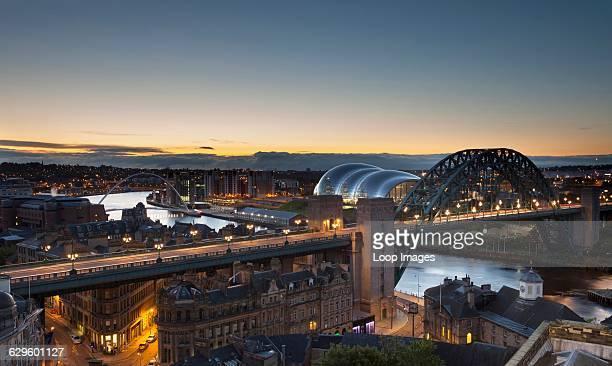Dawn over the Newcastle Gateshead Quayside Newcastle upon Tyne England