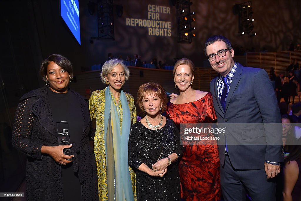Dawn Porter, Kavita Ramdas, Isabel Allende, Nancy Northup, and John Oliver pose onstage at The Center for Reproductive Rights 2016 Gala at the Jazz at Lincoln Center on October 25, 2016 in New York City.