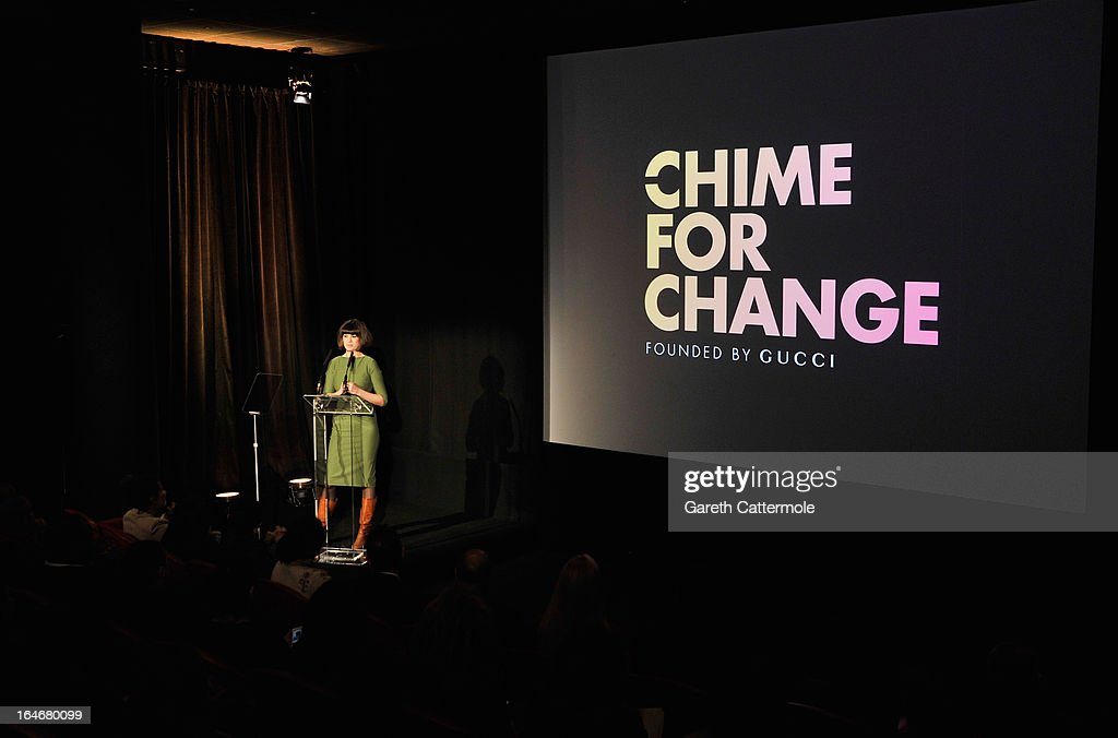 Dawn Porter speaks at a press conference to announce 'The Sound Of Change Live', a global concert event, at the Soho Hotel on March 26, 2013 in London, United Kingdom. Chime For Change, a global campaign for girls' and women's empowerment founded by Gucci and with a founding committee comprised of Gucci Creative Director Frida Giannini, Salma Hayek Pinault and Beyonce Knowles-Carter, today announced a concert event at London's Twickenham Stadium on June 1 with Co-founder and Artistic Director, Beyonce as headliner. Also set to perform are Ellie Goulding, Florence and the Machine, HAIM, Iggy Azalea, John Legend, Laura Pausini, Rita Ora, Timbaland and more to be announced.