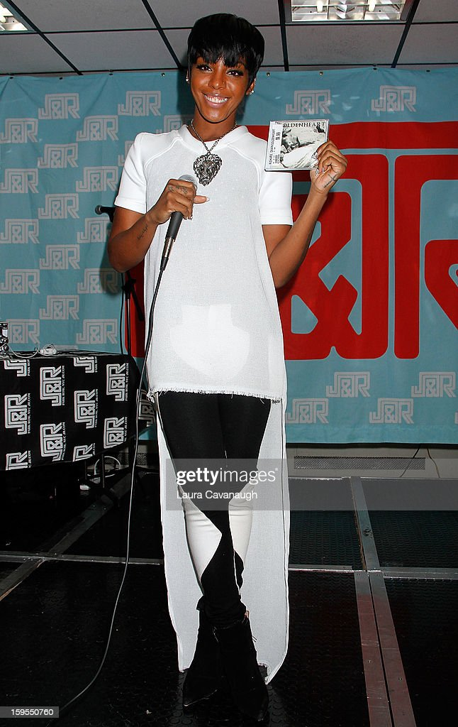 Dawn Richard promotes the new album 'Goldenheart' at J&R Music World on January 15, 2013 in New York City.