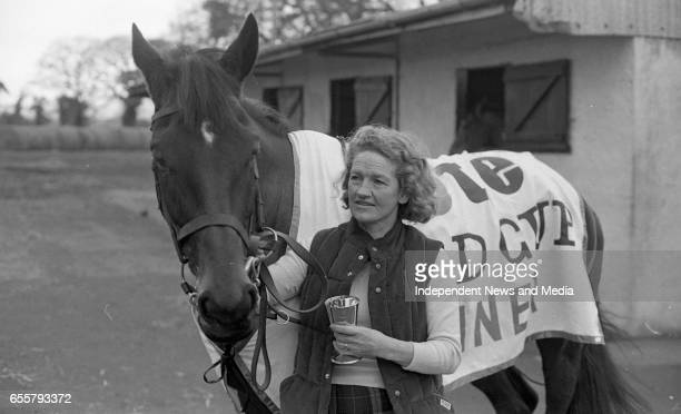 Dawn Run Cheltenham Gold Cup winner and National Hurdling Champion with the Wife of Paddy Mullins Maureen Mullins at the Paddy Mullins Stable circa...