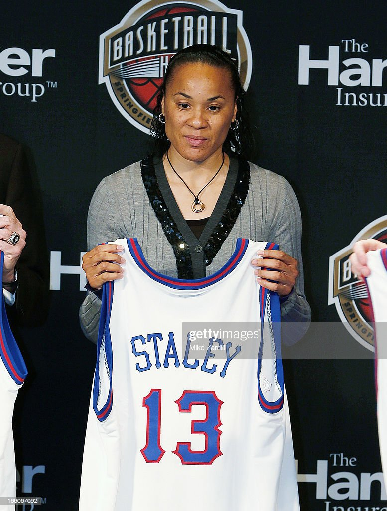 <a gi-track='captionPersonalityLinkClicked' href=/galleries/search?phrase=Dawn+Staley&family=editorial&specificpeople=209196 ng-click='$event.stopPropagation()'>Dawn Staley</a>, 2013 Naismith Memorial Basketball Hall of Fame honoree, stands on stage during the 2013 Naismith Memorial Basketball Hall of Fame Annoucement Ceremony at Marriott Marquis on April 8, 2013 in Atlanta, Georgia.