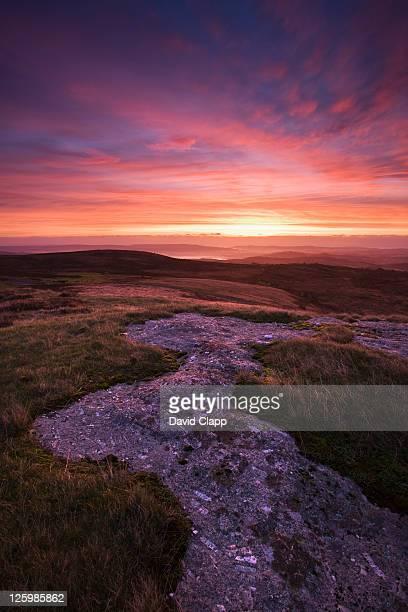 Dawn Sunrise over HayTor Vale from Saddle Tor Devon England