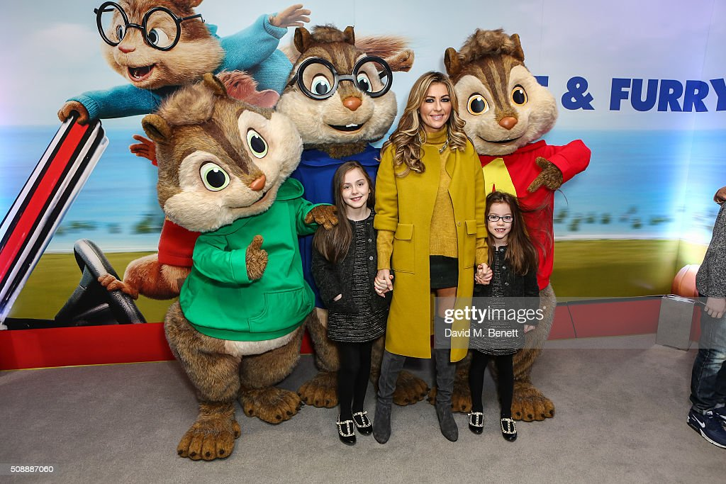 Dawn Ward and children attend a Gala Screening of 'Alvin & The Chipmunks: The Road Chip' at Vue West End on February 7, 2016 in London, England.