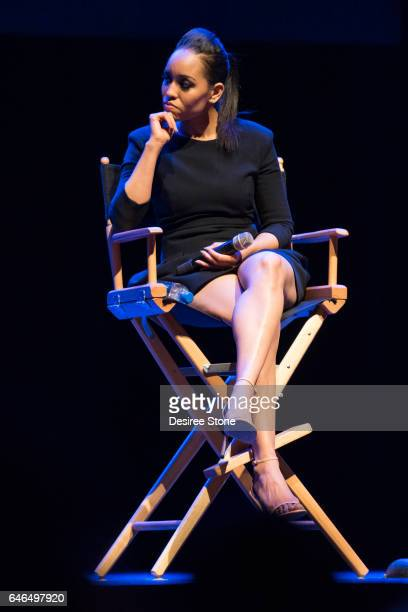 DawnLyen Gardner speaks at 'A Conversation with Issa Rae' 'Rising Stars' Panel Hosted by SAG/AFTRA at Saban Theatre on February 28 2017 in Beverly...