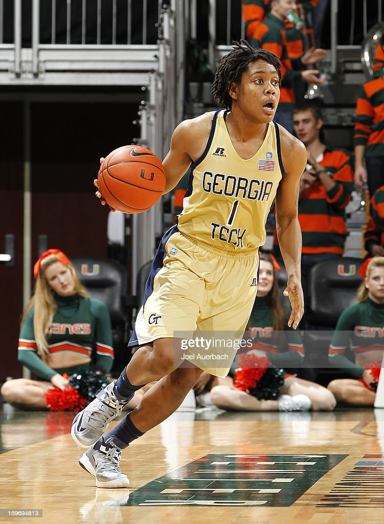 Dawnn Maye #1 of the Georgia Tech Yellow Jackets dribbles the ball against the Miami Hurricanes on January 17, 2013 at the BankUnited Center in Coral Gables, Florida. Miami defeated Georgia Tech 71-65.