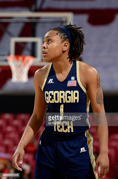 Dawnn Maye of the Georgia Tech Yellow Jackets rests during a break in the game against the Maryland Terrapins at the Comcast Center on January 19...