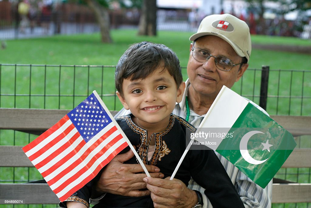 M Dawood Khan with his 3 year old grandson Muneeb Khan showing the friendship between America and Pakistan during Pakistan Independence Day...