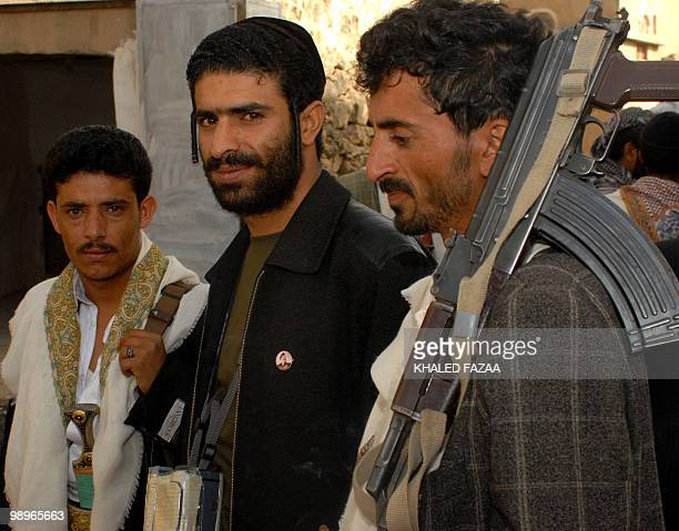 Dawood Marhabi a Yemeni Jew from alSalem village in the province of Saada is seen with Muslim guests at the wedding party of fellow Yemeni Jew Yussef...
