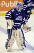 Dawson Carty of the Mississauga Steelheads takes warmup prior to a game against the North Bay Battalion on March 7 2014 at the Hershey Centre in...