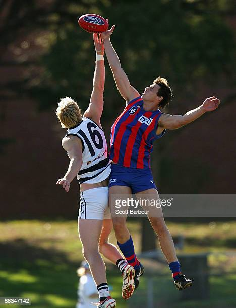 Dawson Simpson of Geelong and Fabian Deluca of Port Melbourne compete for the ball during the round four VFL match between Port Melbourne and Geelong...