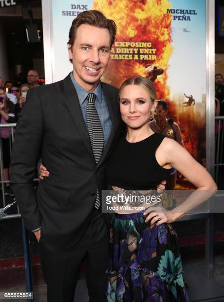 Dax Shepard and Kristen Bell attend the premiere of Warner Bros Pictures' 'CHiPS' at TCL Chinese Theatre on March 20 2017 in Hollywood California