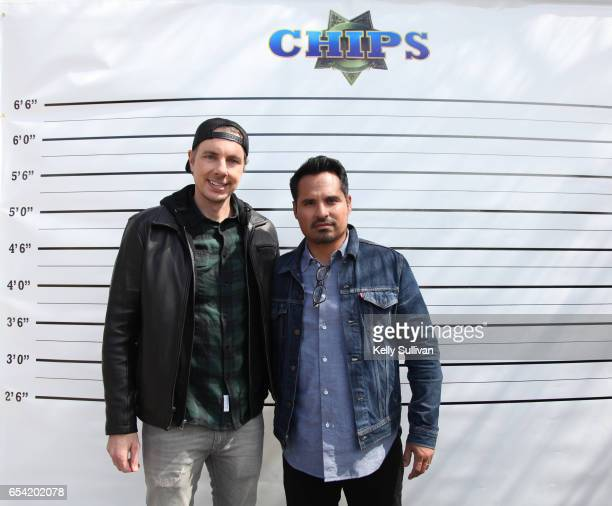 Dax Shepard and Michael Pena pose for a photo during a promotional appearance for 'CHiPs' at the University of California Berkeley on March 16 2017...