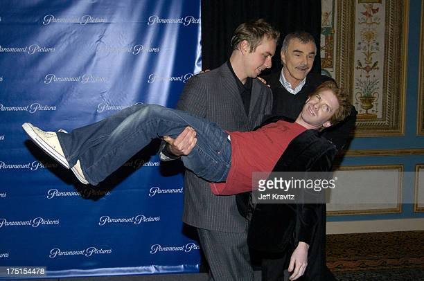 Dax Shepard Burt Reynolds and Seth Green during ShoWest 2004 Paramount Pictures Press Room at Bally's Paris Hotel in Las Vegas Nevada United States