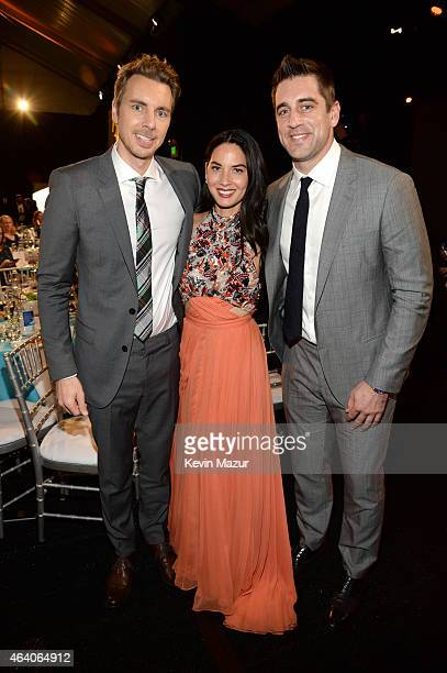 Dax Sheppard Olivia Munn and Aaron Rodgers attend the 2015 Film Independent Spirit Awards at Santa Monica Beach on February 21 2015 in Santa Monica...