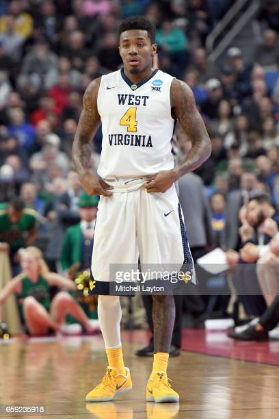 Daxter Miles Jr #4 of the West Virginia Mountaineers looks on during the Second Round of the NCAA Basketball Tournament against the Notre Dame...