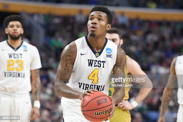 Daxter Miles Jr #4 of the West Virginia Mountaineers takes a foul shot during the Second Round of the NCAA Basketball Tournament against the Notre...