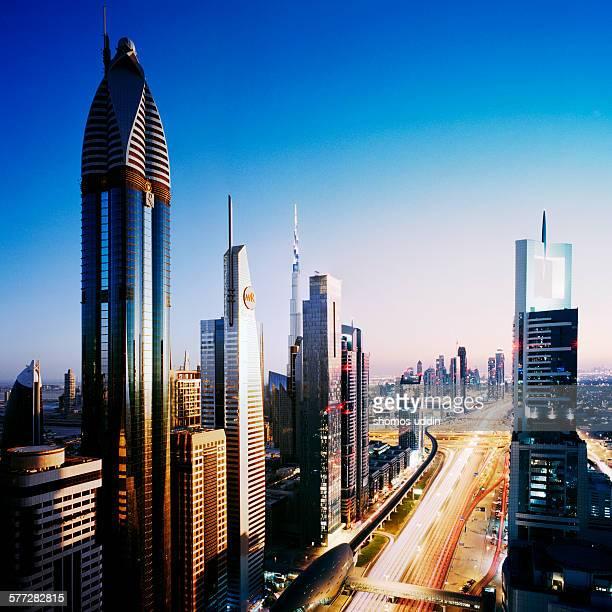 Day and night cityscape of Dubai