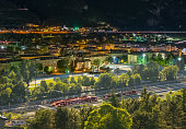 Sustainable transport concept, traffic and railway transport. skyline of Trento, Italy