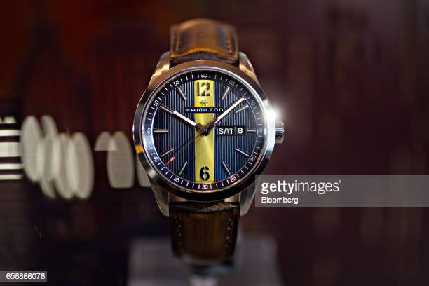 A Day Date Quartz Broadway model luxury wristwatch produced by Hamilton International Ltd stands on display during the 2017 Baselworld luxury watch...