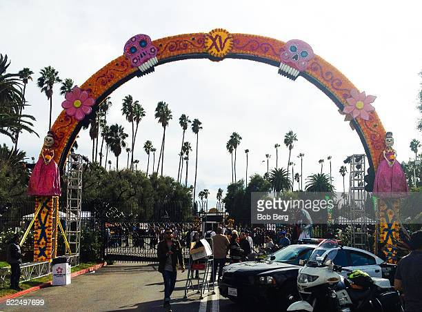 Los Angeles Ca November 1 2014 A Day of the Dead arch spans the entrance to the Hollywood Forever Cemetery on Dia de Los Muertos celebrations