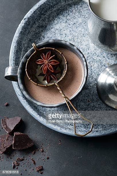 Day of the Dead drink of hot chocolate Mexican champurrado star anise, vanilla and cinnamon