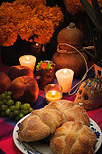 Offering as part of the celebration of the day of the dead in Mexico with bread