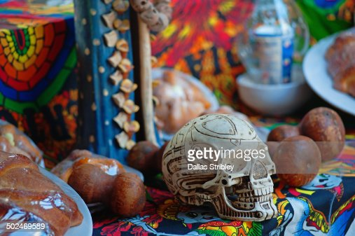 Day of the Dead skull+decorations, Akumal, Mexico