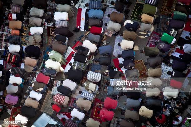 Day of the Matrys on Tahrir Square on February 11 2011 in downtown Cairo Egypt Streets and rooftops crowded as Yusuf alQaradawi a leading Egyptian...