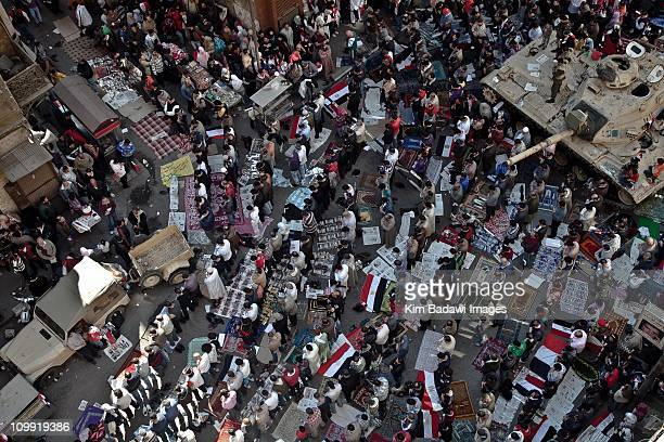 Day of the Matrys on Tahrir Square on February 10 2011 in downtown Cairo Egypt Streets and rooftops crowded as Yusuf alQaradawi a leading Egyptian...