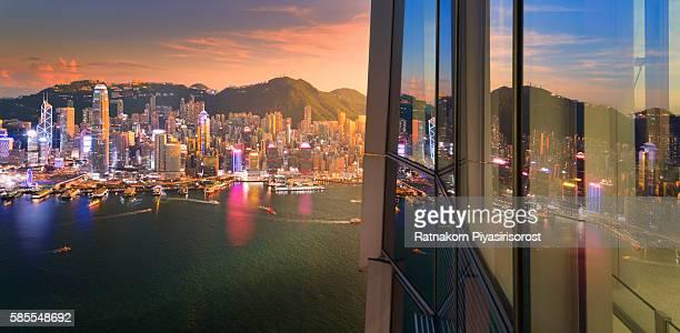 Day to Night of Hongkong Skyline
