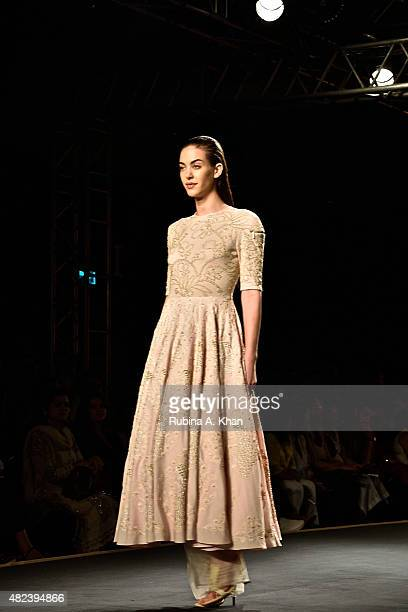 Day two of the Fashion Design Council of India's Amazon India Couture Week 2015 saw Rahul Mishra's designs on the runway on July 30 2015 at the Taj...