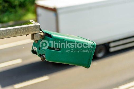 Day View Of Average Speed Traffic Camera Over Uk Motorway Stock