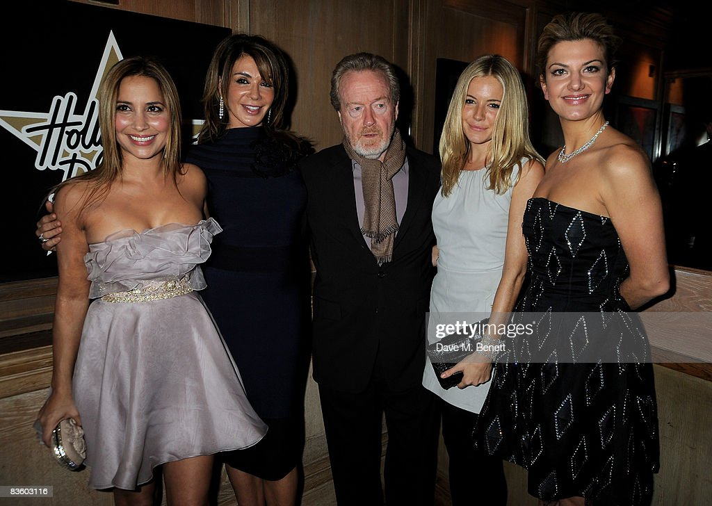 Daya Fernandez, Giannina Facio, Ridley Scott, Sienna Miller and Inga Theron attend the London VIP launch event of Hollywood Domino, at Mosimann's on November 7, 2008 in London, England. The evening will benefit Charlize Theron's Africa Outreach Project.