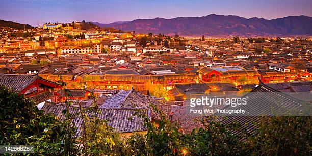 Dayan city skyline at dusk, Lijiang