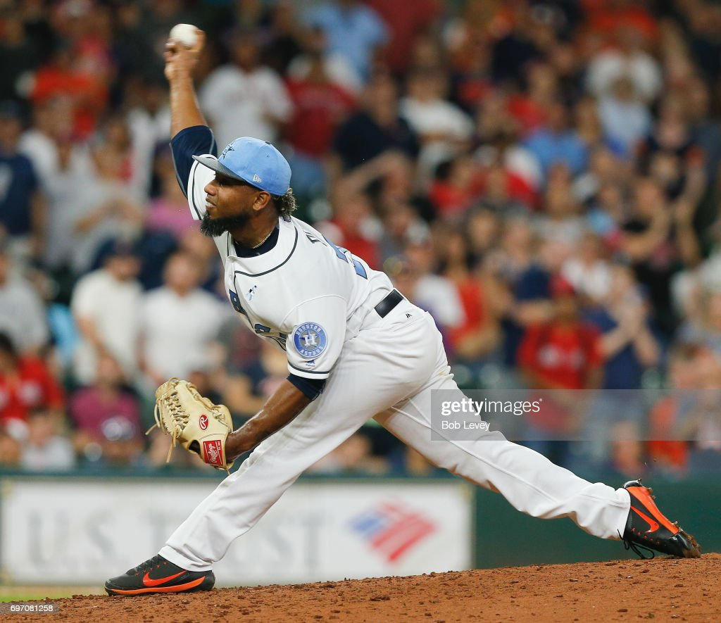 Dayan Diaz #38 of the Houston Astros pitches in the ninth inning against the Boston Red Sox at Minute Maid Park on June 17, 2017 in Houston, Texas.